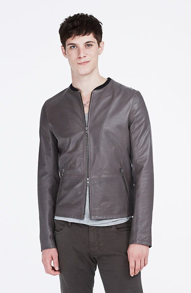 Flat-Front Leather Jacket
