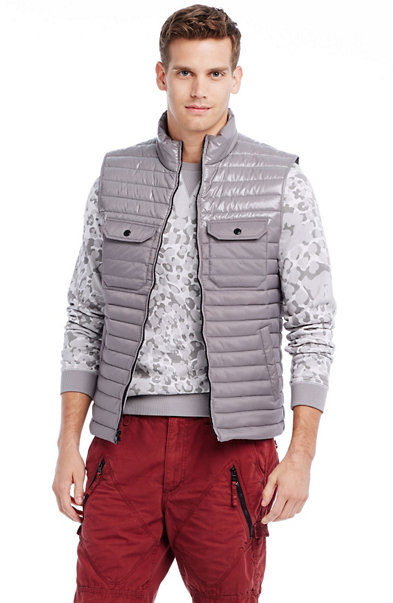 Contrast Quilted Nylon Vest