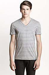 Heather Stripe V-Neck Tee
