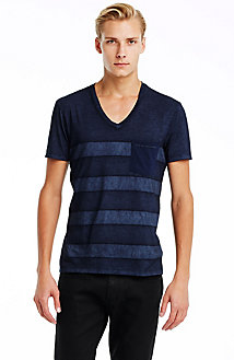 Indigo Stripe V-neck Tee