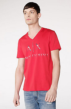 Mixed Print Logo V-Neck