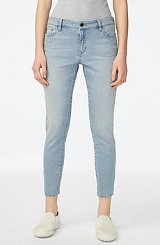 Cropped Light-Wash Skinny Jean