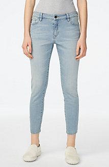 Cropped Light-Wash Skinny Jean