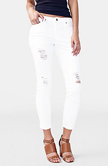 Solid Cropped Ripped Skinny Jean
