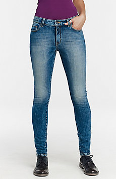 Shredded Light-Wash Skinny Jean