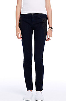 Dark Indigo Scroll Patch Skinny