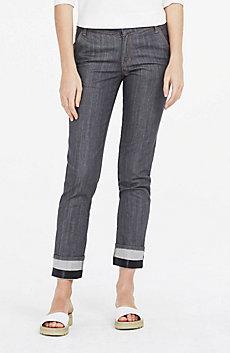 Straight-Leg Cuffed Jean