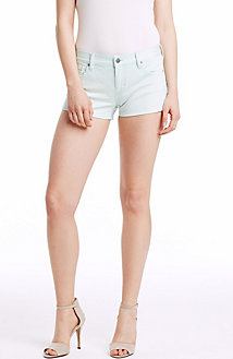 Faded Mint Denim Shorty Short