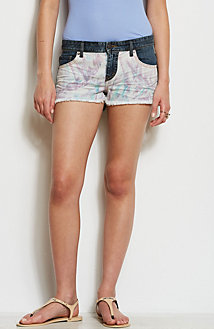 Print Paneled Cut Off Denim Short