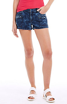 Marble-Washed Jean Short
