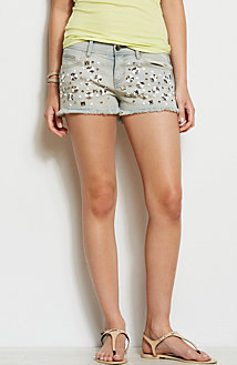 Gem Studded Denim Short