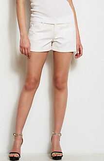White Lace Cut-Out Denim Short<br>Online Exclusive