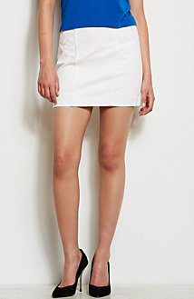 Lace Cut-Out Denim Mini Skirt