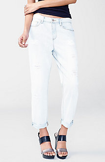 Destructed Light-Wash Boyfriend Jean