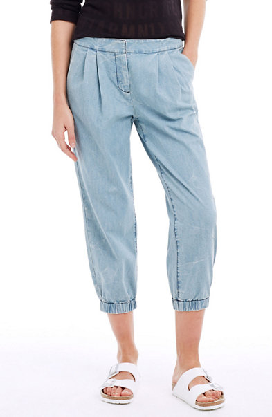 Pleated Denim Jogger Pants