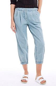 Pleated Denim Jogger Pants