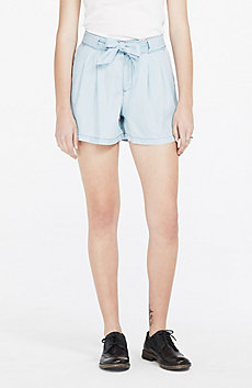 Tie-Front Chambray Shorts