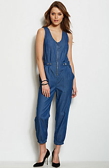 Zippered Chambray Jumpsuit