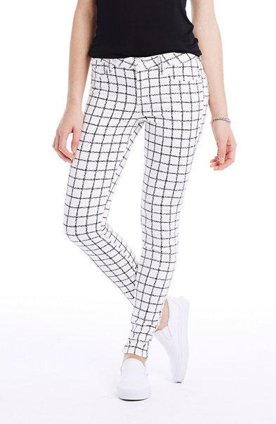 Grid Print Super Skinny Jean