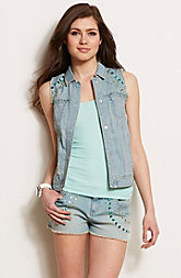 Jeweled Denim Vest