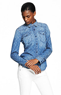 Printed Indigo Denim Shirt