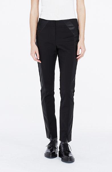 Faux-Leather Tuxedo Stripe Pant