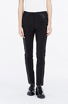 Faux-Leather Tuxedo Stripe Pant