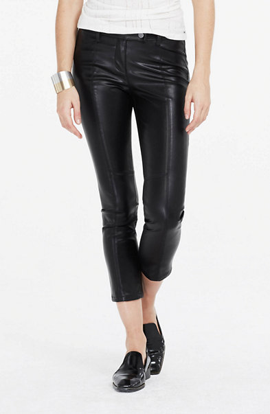 Faux Leather Seamed Pant