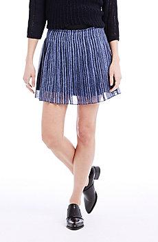 Pleated Herringbone Skirt