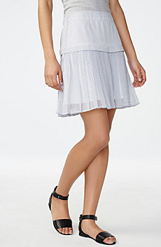 Two-Tier Pleated Miniskirt
