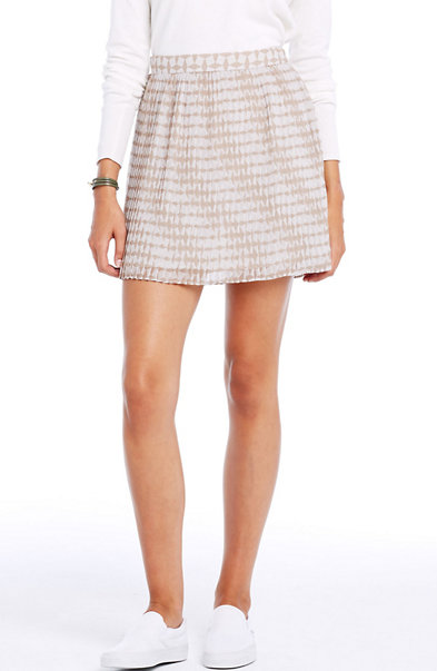 Print Pintuck Mini Skirt