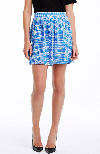 Print Pintuck Mini Skirt