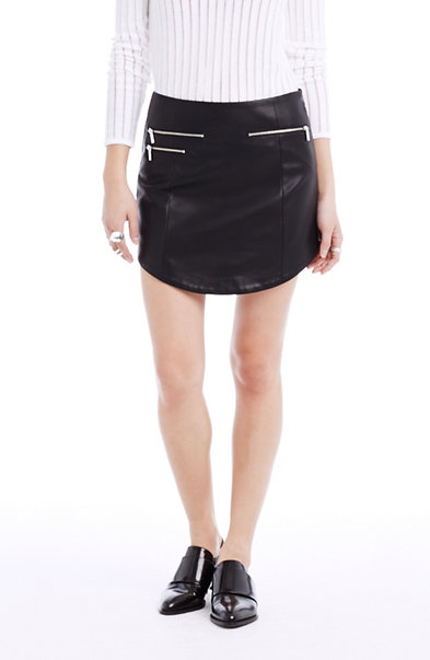 Faux Leather Shirttail Skirt