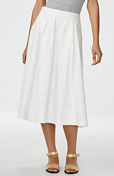 Crisp Poplin Midi Skirt