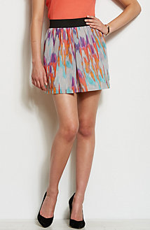Pleated Print Mini Skirt<br>Online Exclusive