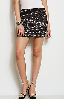Pleated Print Mini Skirt