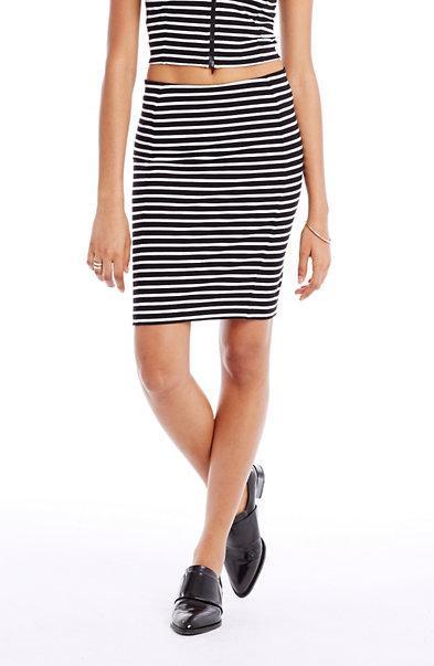 Striped Stretch Pencil Skirt