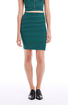Striped Stretch Pencil Skirt
