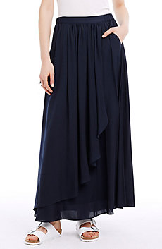 Gathered Satin Maxi Skirt