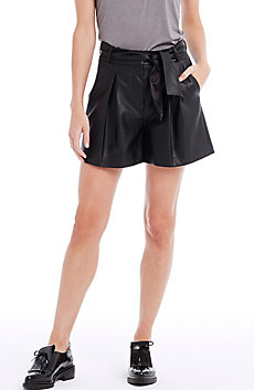 Pleated Faux Leather Short
