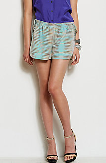 Contrast Panel Printed Short