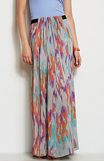 Gathered Print Maxi Skirt