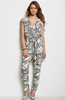 V-Back Printed Jumpsuit
