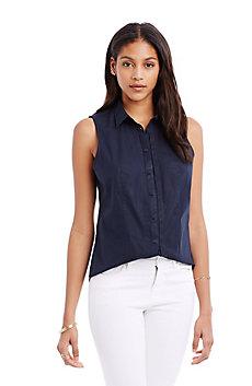Sleeveless Poplin Shirt