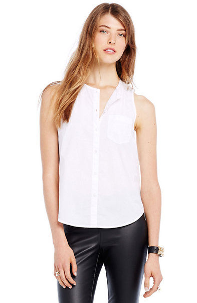 Sleeveless Cotton Poplin Shirt