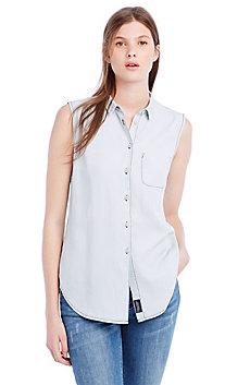 Washed Denim Sleeveless Shirt