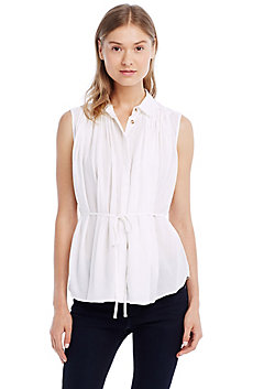 Contrast Collar Sleeveless Tunic