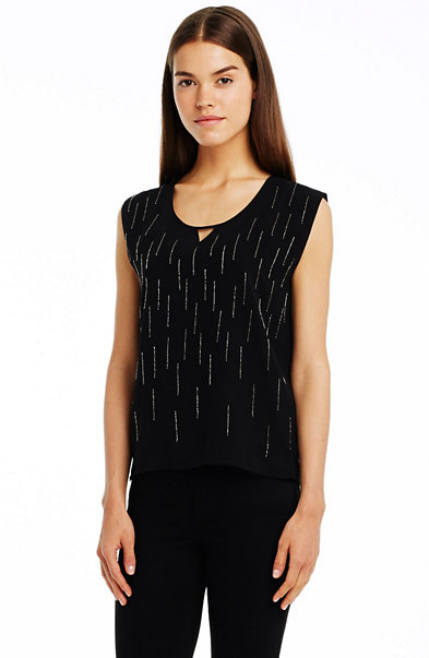 Sleeveless Embellished Tee
