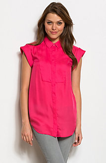 Roll Sleeve Bib Blouse
