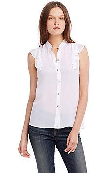 Flutter Cap Sleeve Silk Shirt